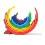 12-color de los niños arqueó madera del juguete del rompecabezas bloques de construcción de arco iris jardín de infantes sólida educación de la primera apilamiento juguetes de madera