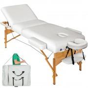 A1 Camilla de masaje plegable Lujo de madera Reiki de 3 cuerpos blanca 195 x 72 cm