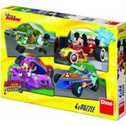 Puzzle 4 in 1 Dino Toys Mickey Mouse si Minnie la cursa 54 piese Multicolor