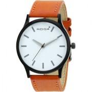 RIDIQA analog wrist man watch white dial brown strap RD-138