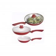 Set de 3 Sartenes Ceramica 5 Piezas Antihaderente - Rojo cocina, casa, hogar, sartén.