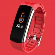 LEMONDA Smart Watch C6T 0.96'' Color Screen Temperature Monitoring HR Bracelet - Red