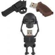 Green Tree Gun Shaped Pen drive 16GB + Skeleton Full Body 16 GB Pen Drive(Black)