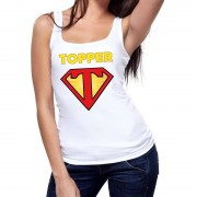 Bellatio Decorations Super Topper logo tanktop / mouwloos shirt wit dames