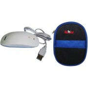 Sky Hard Disk Pouch Combo Dark Blue With Amigo White Mouse