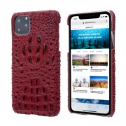 Alligator Head Texture Genuine Leather Coated PC Phone Shell Protective Case for iPhone 11 Pro Max 6.5 inch - Red