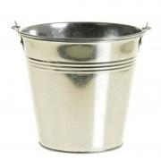 Merkloos Klein zinken emmertje/bloempot zilver 9 cm hoog