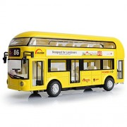 Makimama Alloy London Bus Double Decker Bus Light & Music Open Door Design Metal Bus Diecast Bus Design for Londoners Toy for Children - LKU114-Y, Yellow