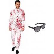 Heren kostuum / pak met bloed print maat 52 (XL) - met gratis zonnebril