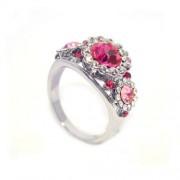 Rózsaszín Swarovski kristályos gyűrű-8