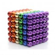 Joc Puzzle Antistres NeoCube Multicolor cu Bile Magnetice 216 Bucati, Diametru Bile 3mm