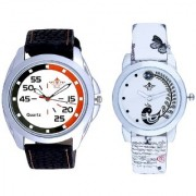Orange Black Multi Dial And White Peacock Feathers Couple Casual Analogue Wrist Watch By Taj Avenue