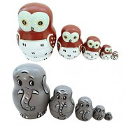 Baoblaze Set of 10 Wooden Russian Nesting Doll Nested Dolls Owl Animal & Elephant Painted Handmade Toys Gifts for Kids Christmas Mother's Day Birthday