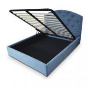 Pat tapitat Verona material textil somiera rabatabila inclusa culoare albastru 180x200 cm