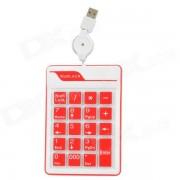 Silicona externa USB 2.0 con cable teclado numerico de 19 teclas para ordenadores portatiles - blanco + rojo