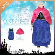 ハロウィン&イベントに!子供用コスプレ衣装ワンピース2点Set/雪/仮装/プリンセス/ドレス[X240]