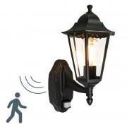 QAZQA Classic Wall Lantern Black with Motion Sensor IP44 - New Orleans Up