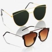 Knotyy Shield, Retro Square Sunglasses(Green, Brown)