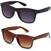 Meia Combo (WyfrBLKBRN) of Black and Brown Wayfarer Sunglasses
