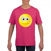 Bellatio Decorations Smiley t-shirt vrolijk roze kinderen
