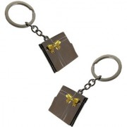De-Ultimate (Set Of 2) Unisex Plain Photo Album Metallic Toy Key Ring/Keychain For Bikes/Scooty/Cars (Copper)