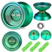 Beboo YoYo Ball Green Unresponsive Yoyos - Pro YoYo Toy - Metal Alloy Aluminum Professional Yo Yo Bearing Reel - 3 Strings + YoYo Glove