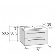 Ansamblu mobilier Riho cu lavoar 60cm gama Senso, Set 35 Acryl
