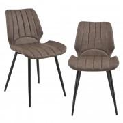 [en.casa]® Silla de comedor Pohorje - 77 x 57,5 x 46 cm - Set de 2 sillas de diseño - Acolchado - De Cuero sintético - Marrón oscuro