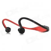 Deportes inalambricos detras de cuello MP3 auriculares w / TF / FM / USB - negro + rojo
