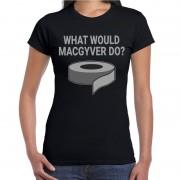 Bellatio Decorations Mac Gyver duct tape t-shirt zwart voor dames