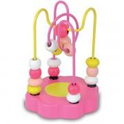 Bead Maze-Pink Flower-Jeu D'eveil -Jouet A Fil Fleur En Bois Rose -1er Age- Vilac-France-9943p