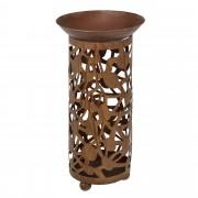 Декоративна колона за цветя [casa.pro]® , Метал, Кръгла 71 x 32 x 32 cm, Кафява