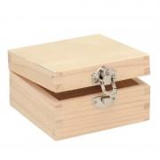 Merkloos Onbedrukte houten sieradenkistje 7 cm