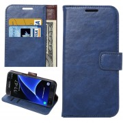 Para Samsung Galaxy S7 EDGE / G935 Caballo Loco Textura Horizontal Flip Funda De Cuero Con Soporte Y Ranuras Para Tarjetas Y Cartera (azul)