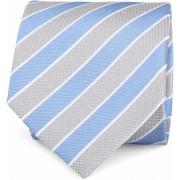 Krawatte Seide Blau Grau Streifen - Blau