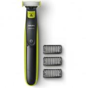 Philips OneBlade QP2520/20 Aparat hibrid de barbierit si tuns barba, 3 piepteni, 1 rezerva, Acumulatori, Negru/Verde