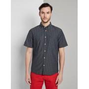 TOM TAILOR Shirt met korte mouwen en strepen, navy light blue dobby stripe, L