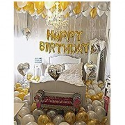 Happy Birthday 13 Letter foil Balloon(Golden)+Metallic Finish Balloons( Golden and Silver)(Pack of 50 pcs)