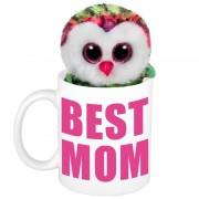 Shoppartners Moederdag Best mom mok met knuffel uil