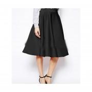 Faldas OL Elegante Y Atractivo Falda Plisada Color Sólido - Negro