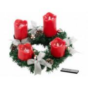 Britesta Couronne de l'Avent avec ornements argenté & 4 bougies à LED