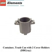 Lego Parts: Container Trash Can with 2 Cover Holders (DBGray)