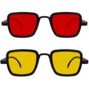 Magjons Retro Square Sunglasses(Red, Yellow)