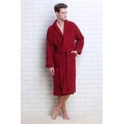 Evateks Банный мужской халат из махровой ткани бордового цвета Evateks №363 Bordo Label (Бордовый)