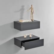 2 броя нощни шкафчета за стенен монтаж с едно чекмедже, Тъмносив, 46x30x15cm [en.casa]®
