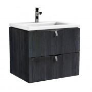 Oristo Siena szafka z umywalką Twins 60x50x45 dąb czarny OR45-SD2S-60-50/UME-TW-60-91
