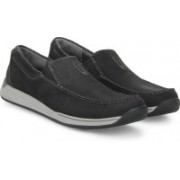 Clarks Javery Easy Black Nubuck Loafers For Men(Black)