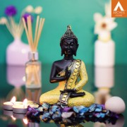 Archies Bhumisparsha Mudra black and golden polyresin decor Buddha showpiece with mirror work
