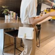 Lock gesp glitter PU Leer enkele schoudertas dames handtas Messenger Bag (wit)
