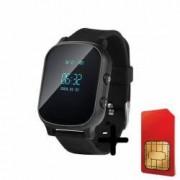 Ceas smartwatch copii sau adultii cu GPS Wonlex GW700 telefon localizare WiFi monitorizare spion buton SOS Negru